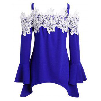 Asymétrique Floral Crochet Cold Shoulder Tee - Bleu XL