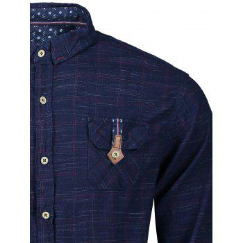 Button Cuff Flap Pockets Plaid Shirt - BLUE/RED 2XL