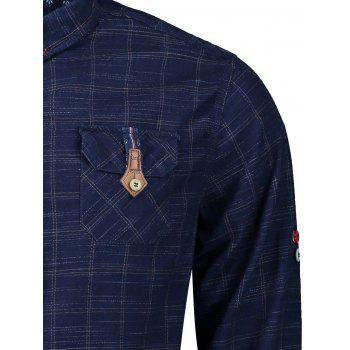 Button Cuff Flap Pockets Plaid Shirt - BLUE/YELLOW L