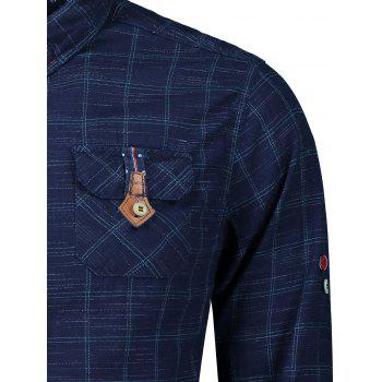 Button Cuff Flap Pockets Plaid Shirt - BLUE/GREEN L