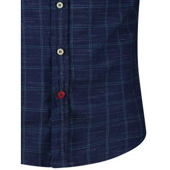 Button Cuff Flap Pockets Plaid Shirt - BLUE/GREEN M