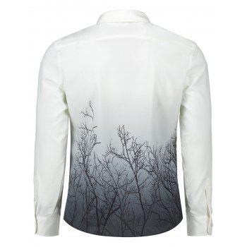 Tree Branches Pattern Ombre Shirt - COLORMIX M