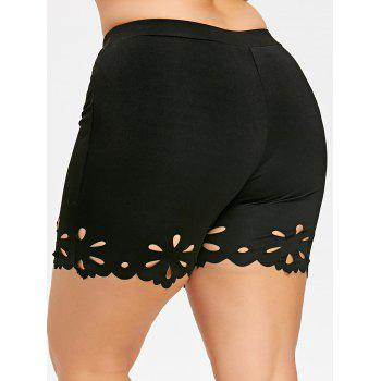 Plus Size Scalloped Edge Fitted Shorts - BLACK 5XL