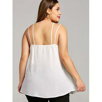 Plus Size Lace Insert Strappy Tank Top - OFF WHITE XL