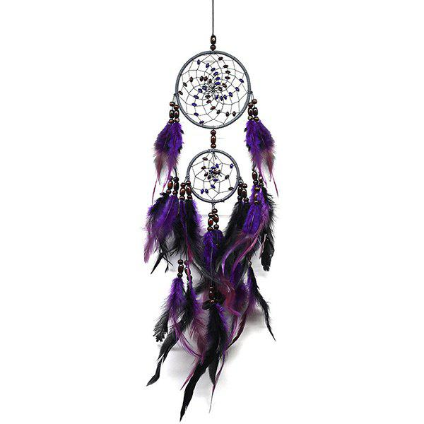 Handmade Feathers Dream Catcher Wall Hanging Art - PURPLE