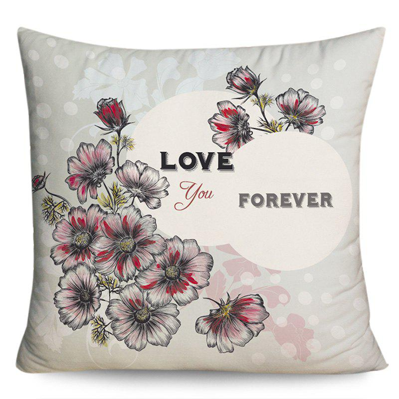 Valentine's Day Love You Forever Flower Print Pillow Case - COLORMIX W18 INCH * L18 INCH