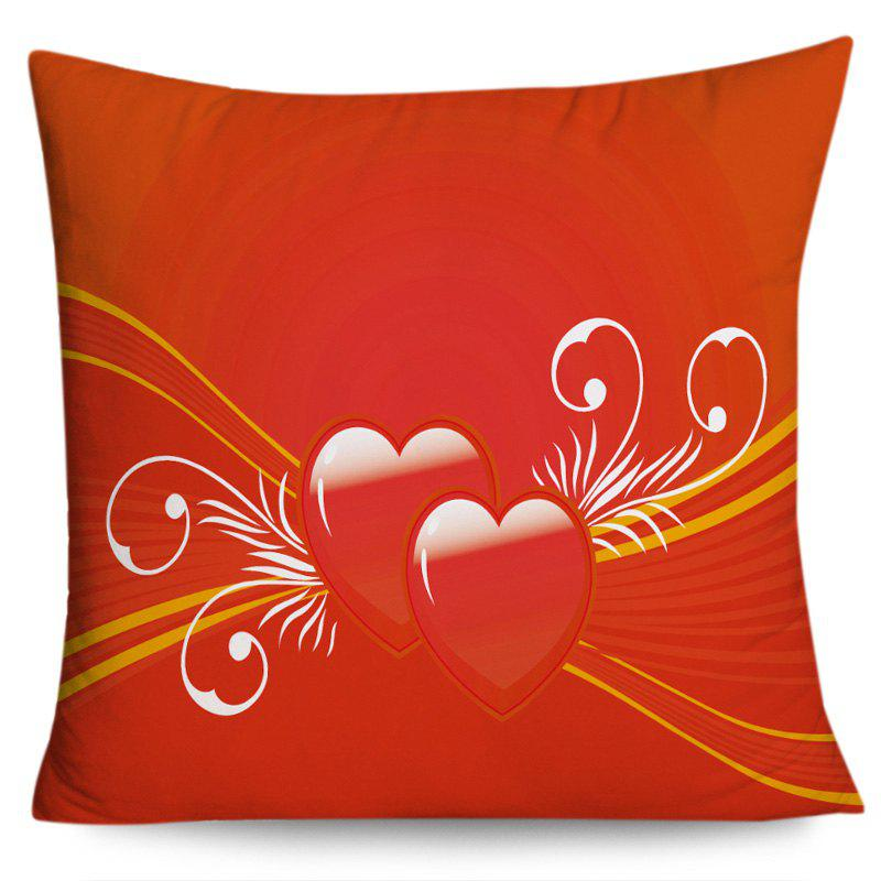 Valentine's Day Double Hearts Print Throw Pillow Case - RED W18 INCH * L18 INCH