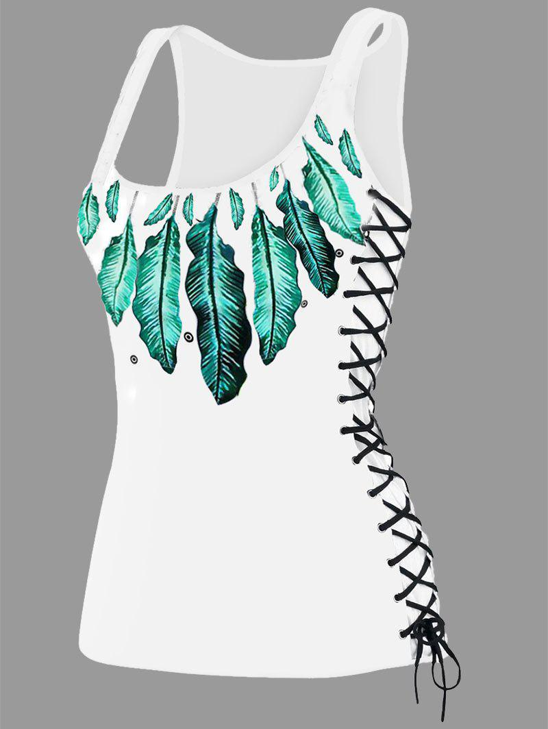 Feather Print Lace Up U Neck Tank Top - GREEN M