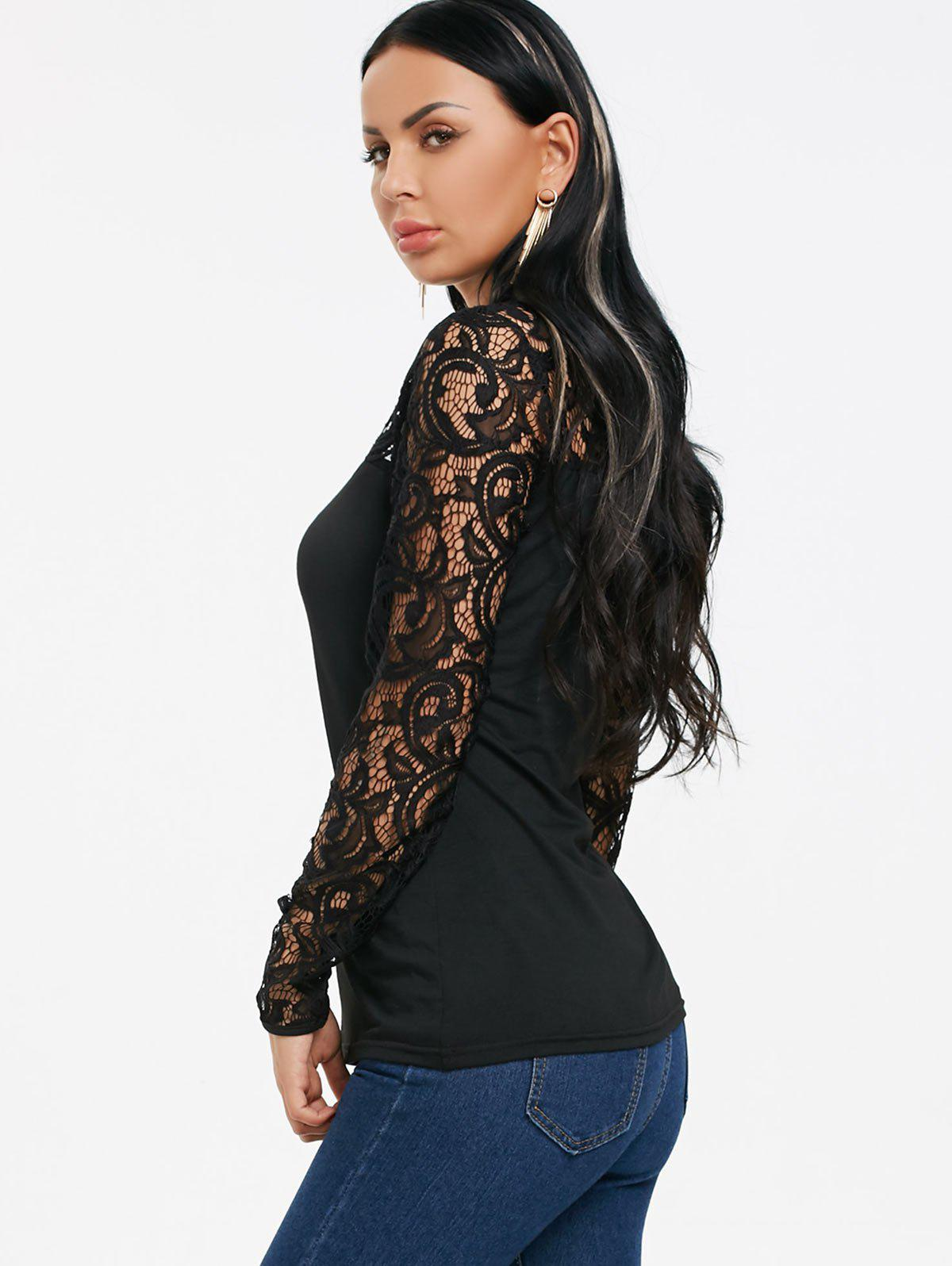 Cut Out Lace Panel Long Sleeve T-shirt - BLACK 2XL