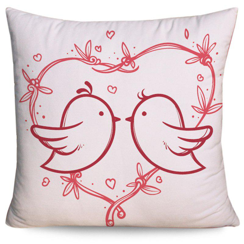 Valentine's Day Love Birds Heart Print Pillow Case - COLORMIX W18 INCH * L18 INCH