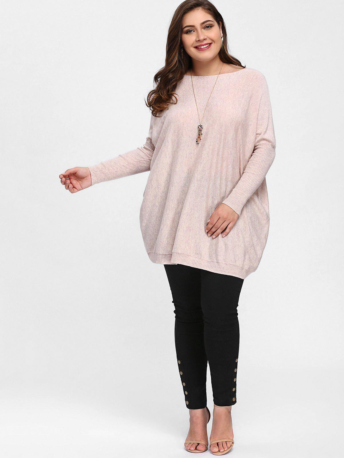Plus Size Knit Dolman Sleeve Tunic Sweater - SHALLOW PINK ONE SIZE