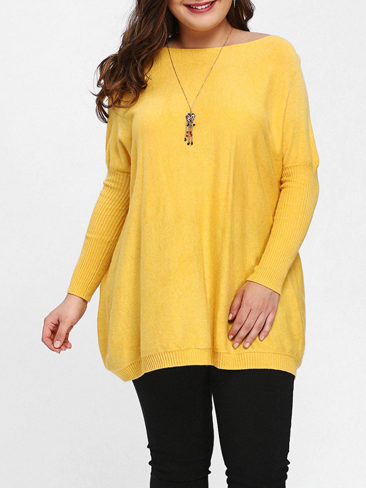 Plus Size Knit Dolman Sleeve Tunic Sweater - YELLOW ONE SIZE