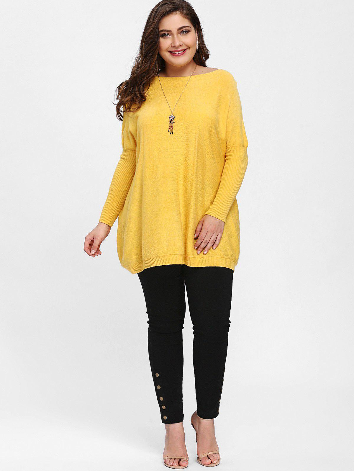 2017 Plus Size Knit Dolman Sleeve Tunic Sweater YELLOW ONE SIZE In ...