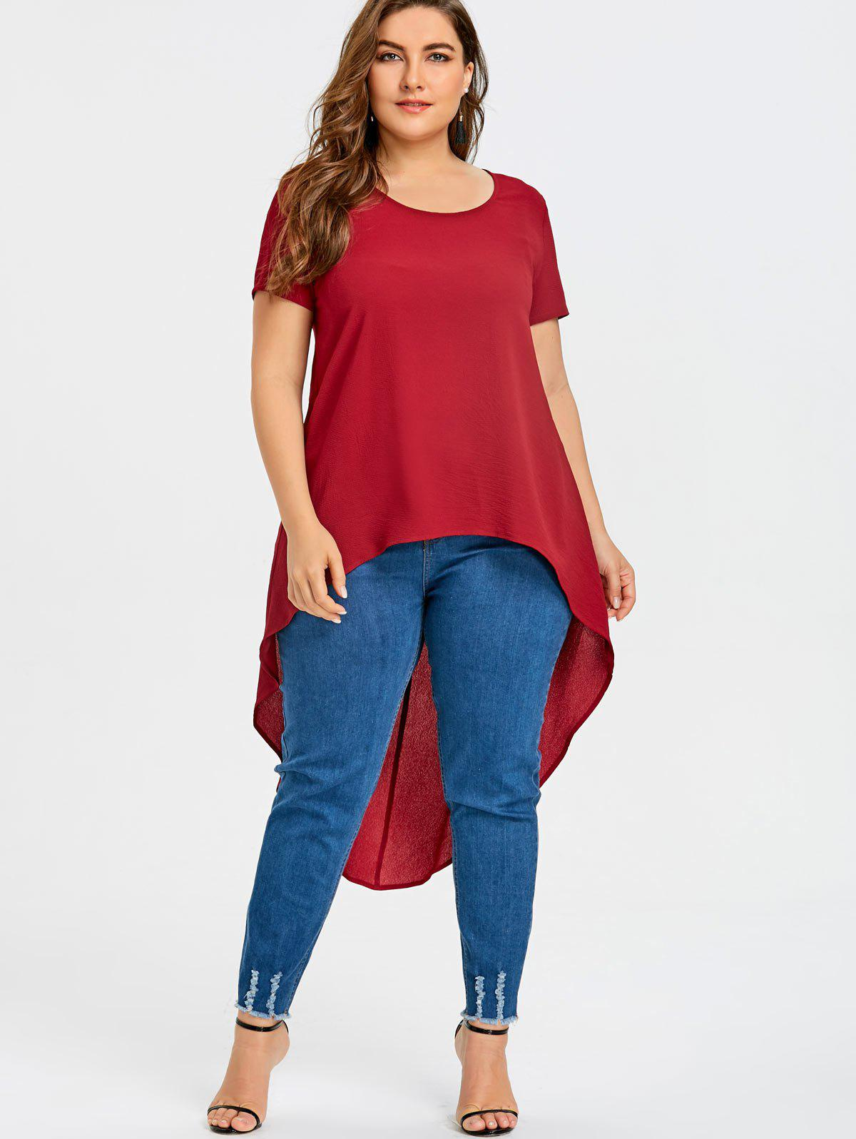 Plus Size Short Sleeve High Low Blouse - RED 4XL
