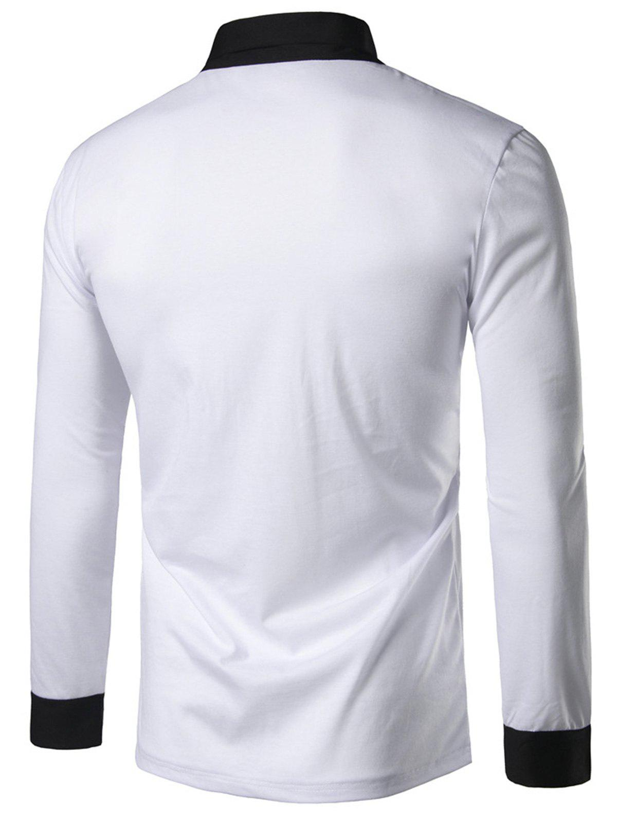 2018 shawl collar long sleeve panel t shirt white l in for Shawl collar t shirt