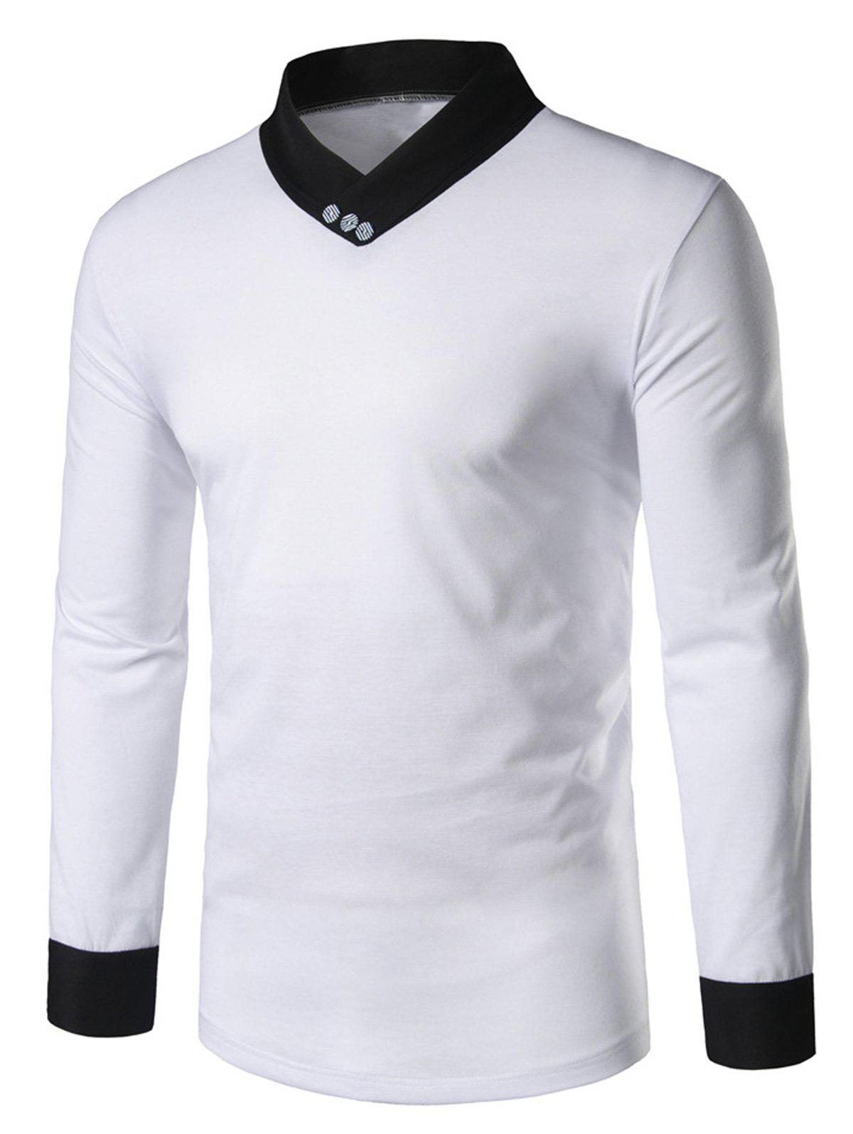 2018 shawl collar long sleeve panel t shirt white m in for Shawl collar t shirt