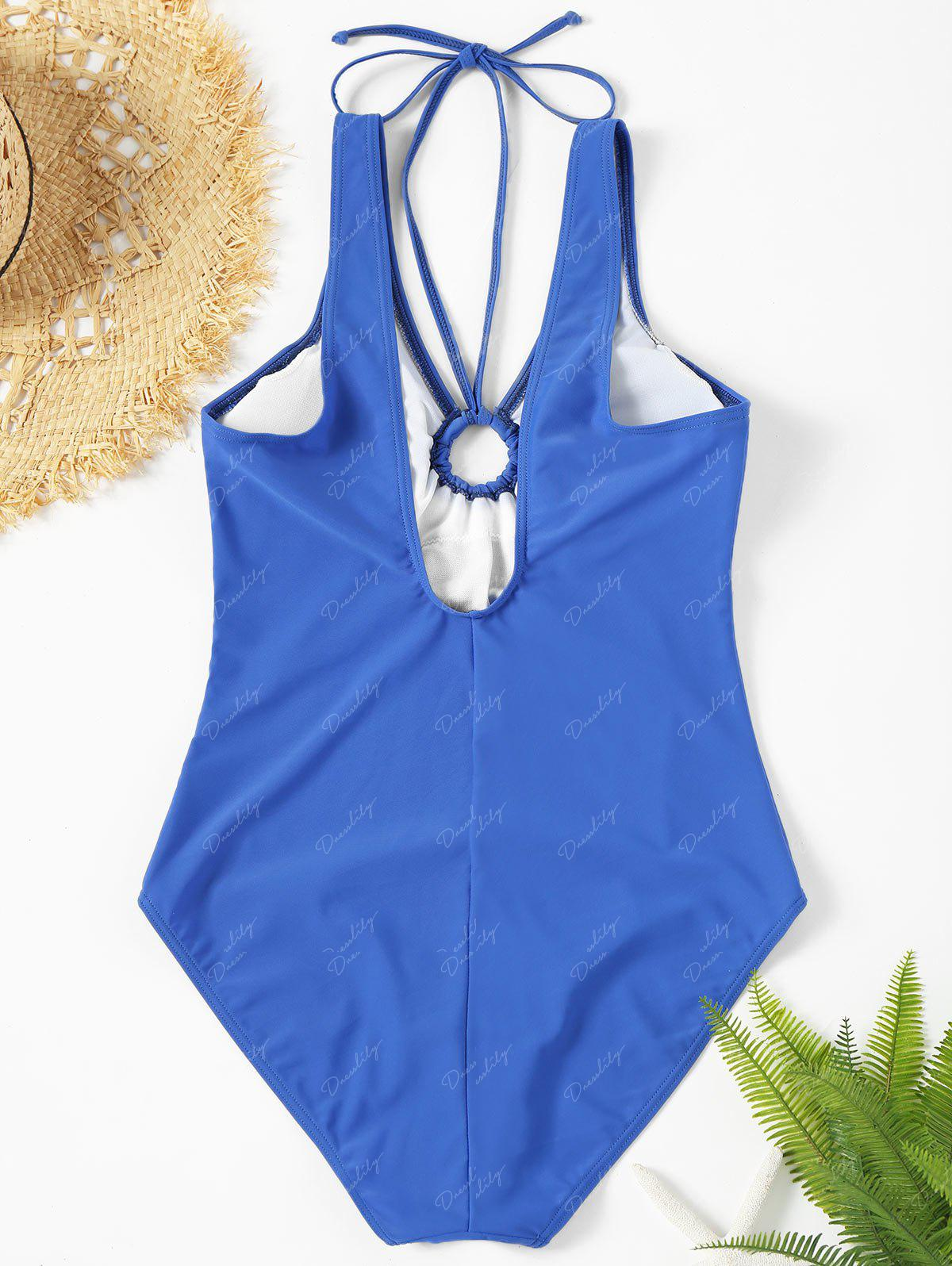 Backless Plunge Neck One Piece Swimsuit - BLUE S