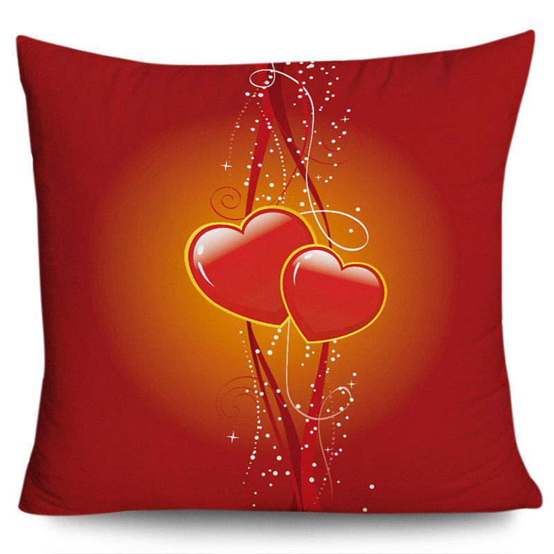 Valentine's Day Double Hearts Printed Square Pillowcase - RED W18 INCH * L18 INCH
