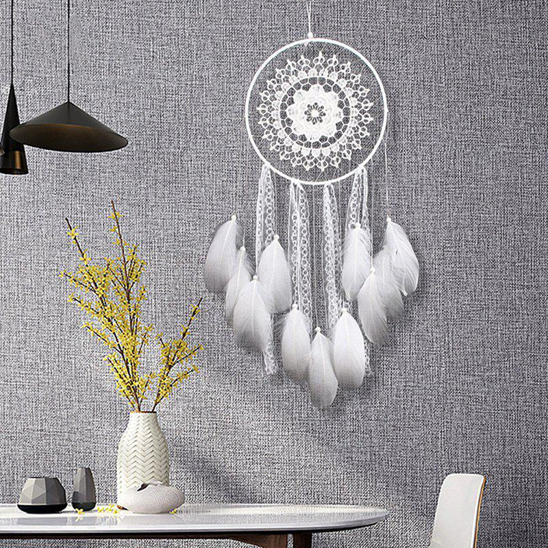 Handmade Lace Feathers Dream Catcher Wall Hanging - WHITE