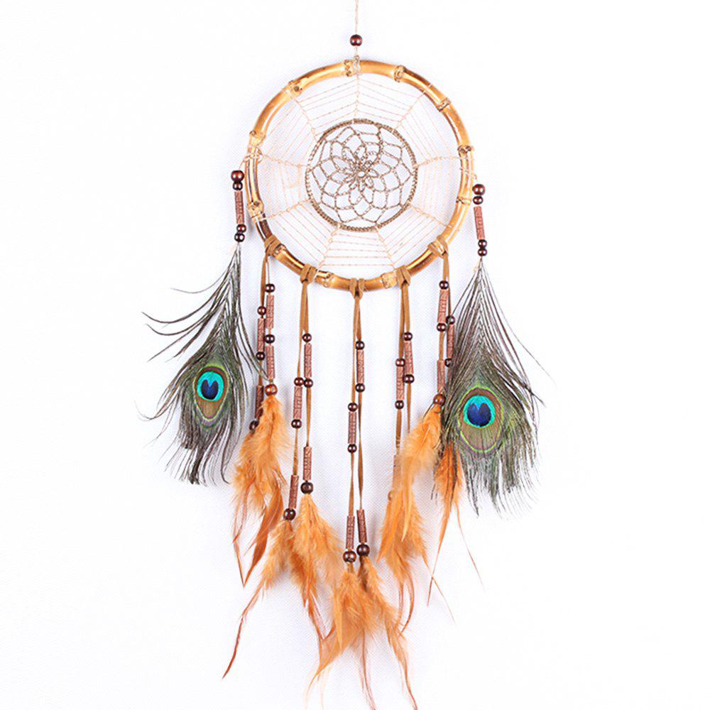 Linen Rope Feather Hanging Handmade Dream Catcher - COLORMIX