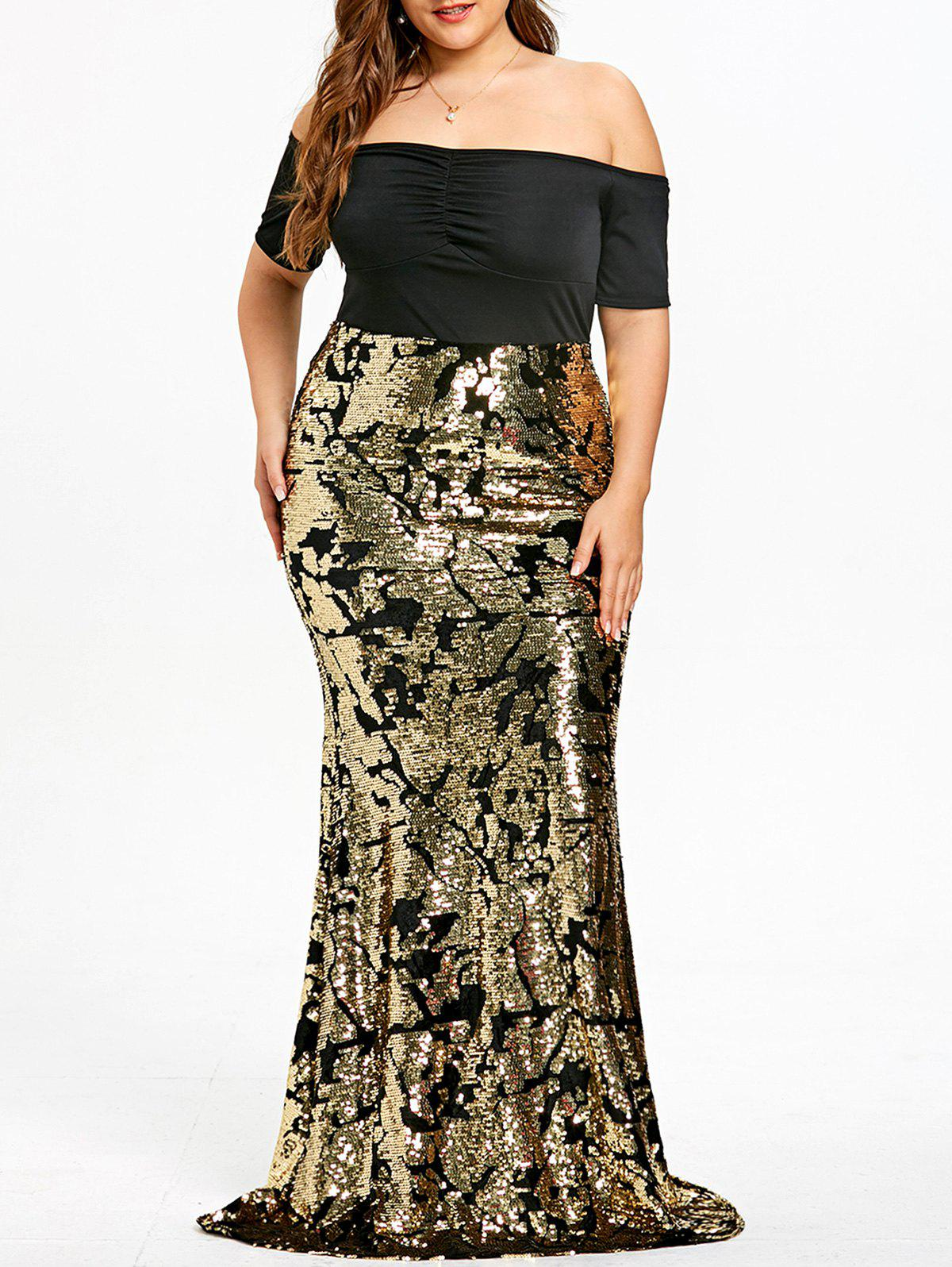Plus Size Sequined Mermaid Prom Dress - GOLDEN XL