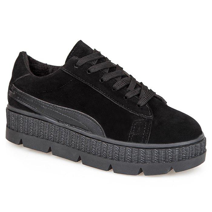 Platform Heel Increased Internal Skate Shoes - BLACK 35
