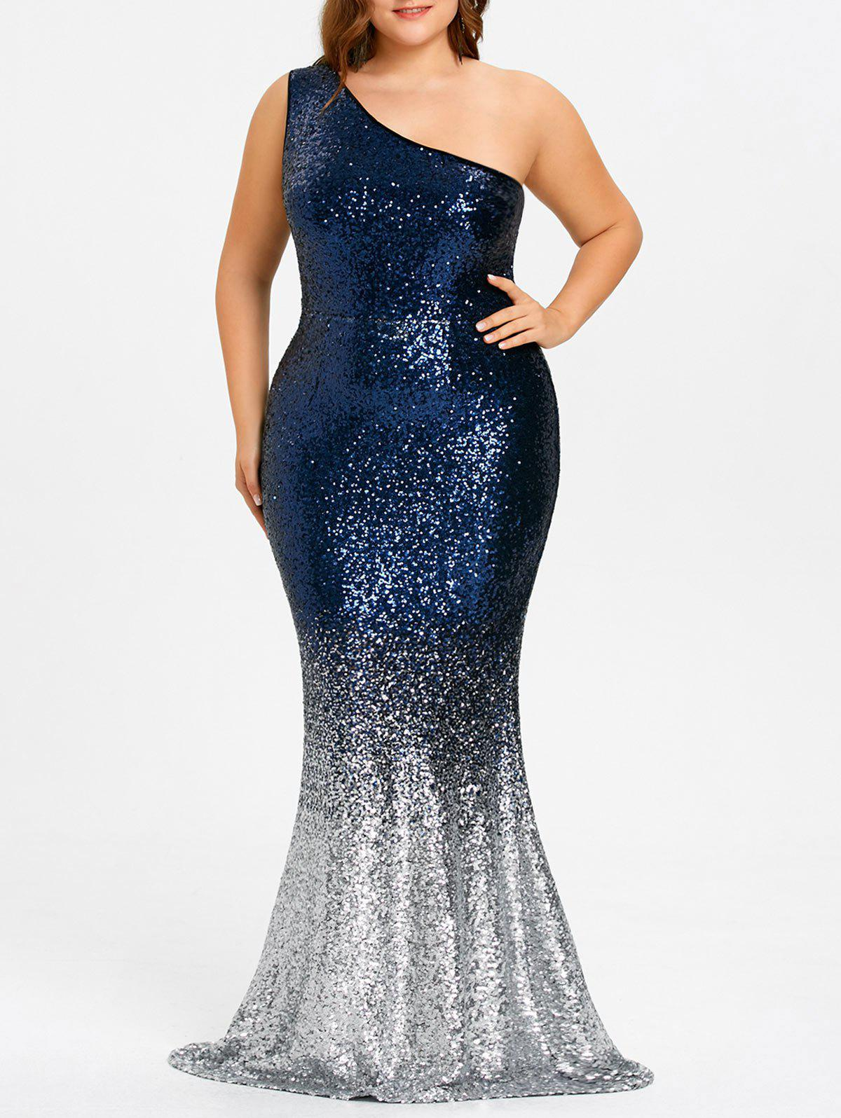 Plus Size One Shoulder Glittering Mermaid Dress the one plus one