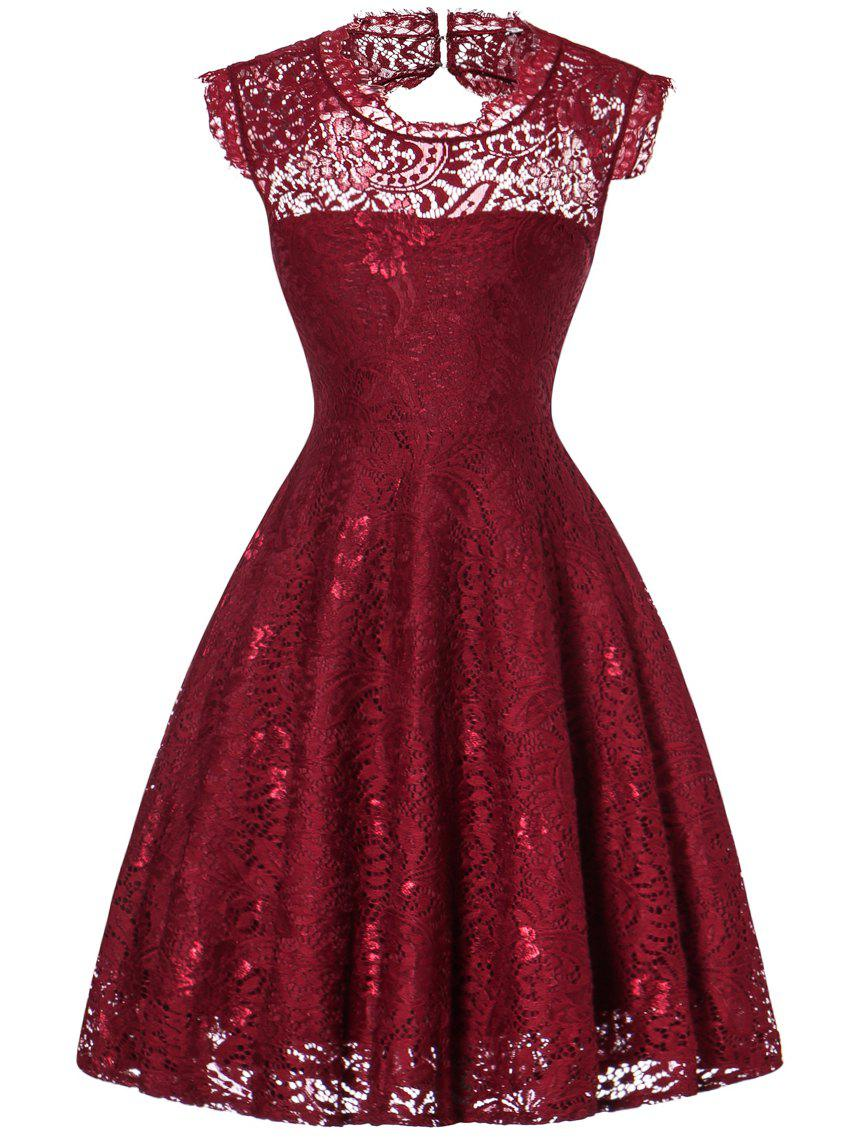 Lace Open Back Flare Cocktail Dress - WINE RED M