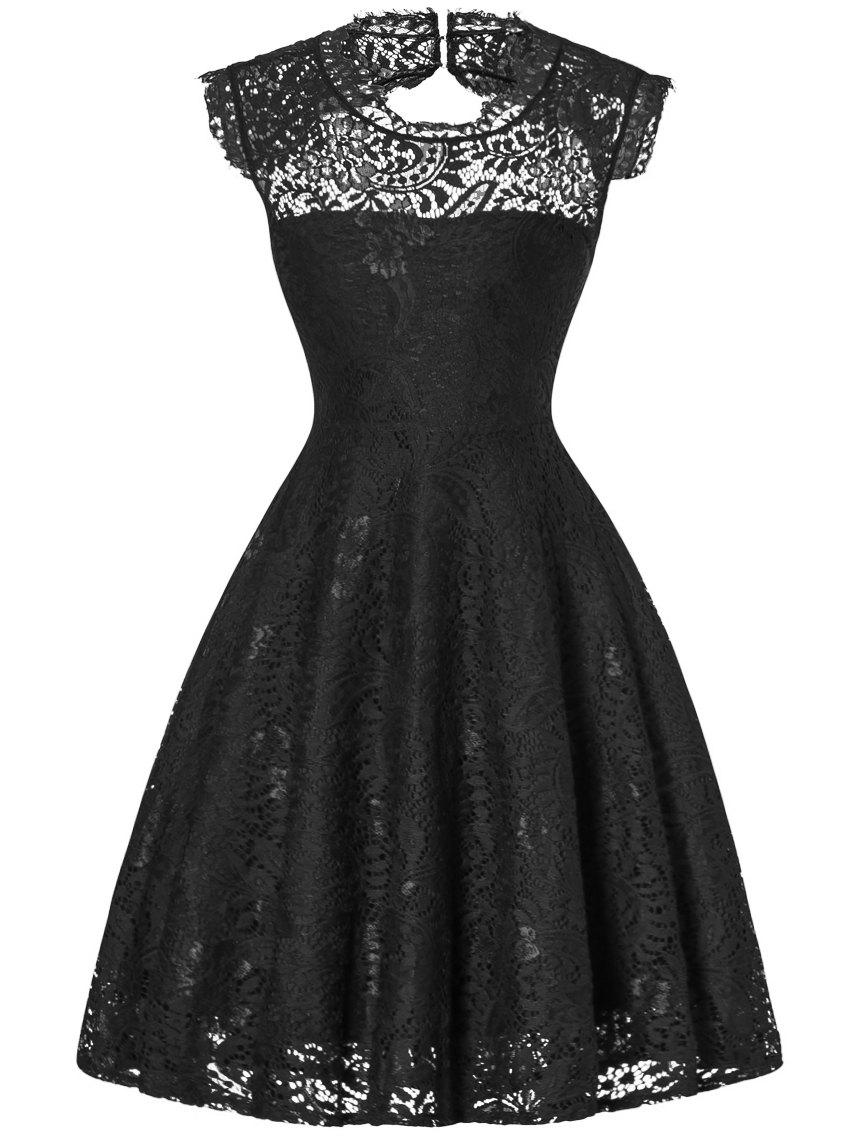 Lace Open Back Flare Cocktail Dress - BLACK XL