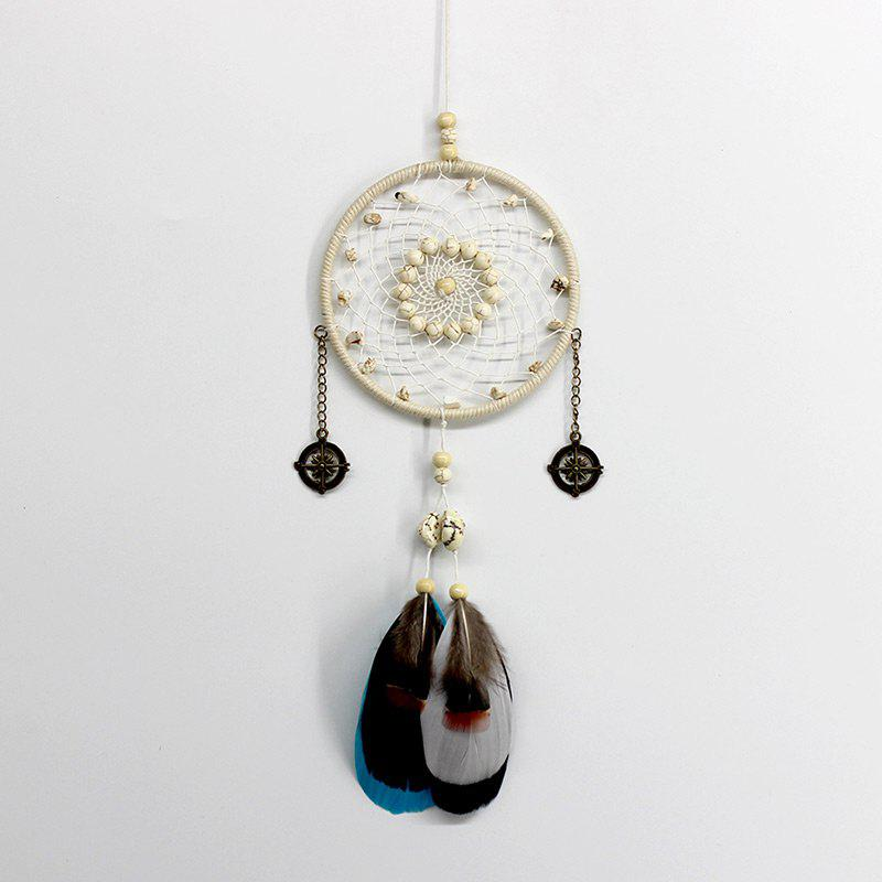 Feather Faux Turquoise Beaded Handmade Dreamcatcher - MILK WHITE