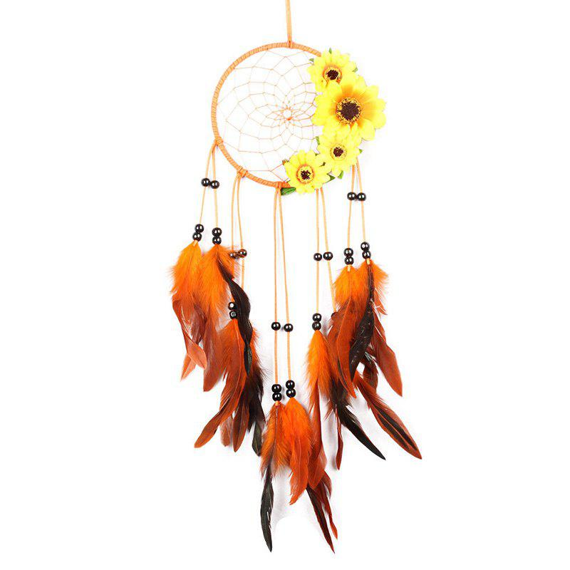 Sunflower Feather Bead Hanging Handmade Dream Catcher - JACINTH