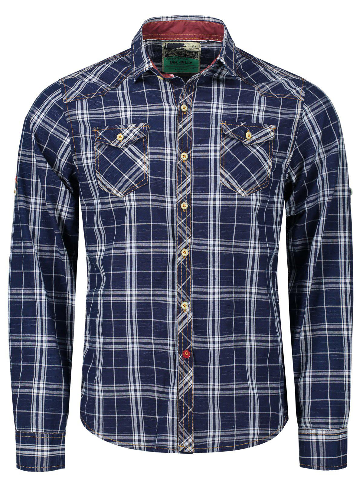 Adjustable Sleeve Flap Pockets Plaid Shirt - BLUE/WHITE L