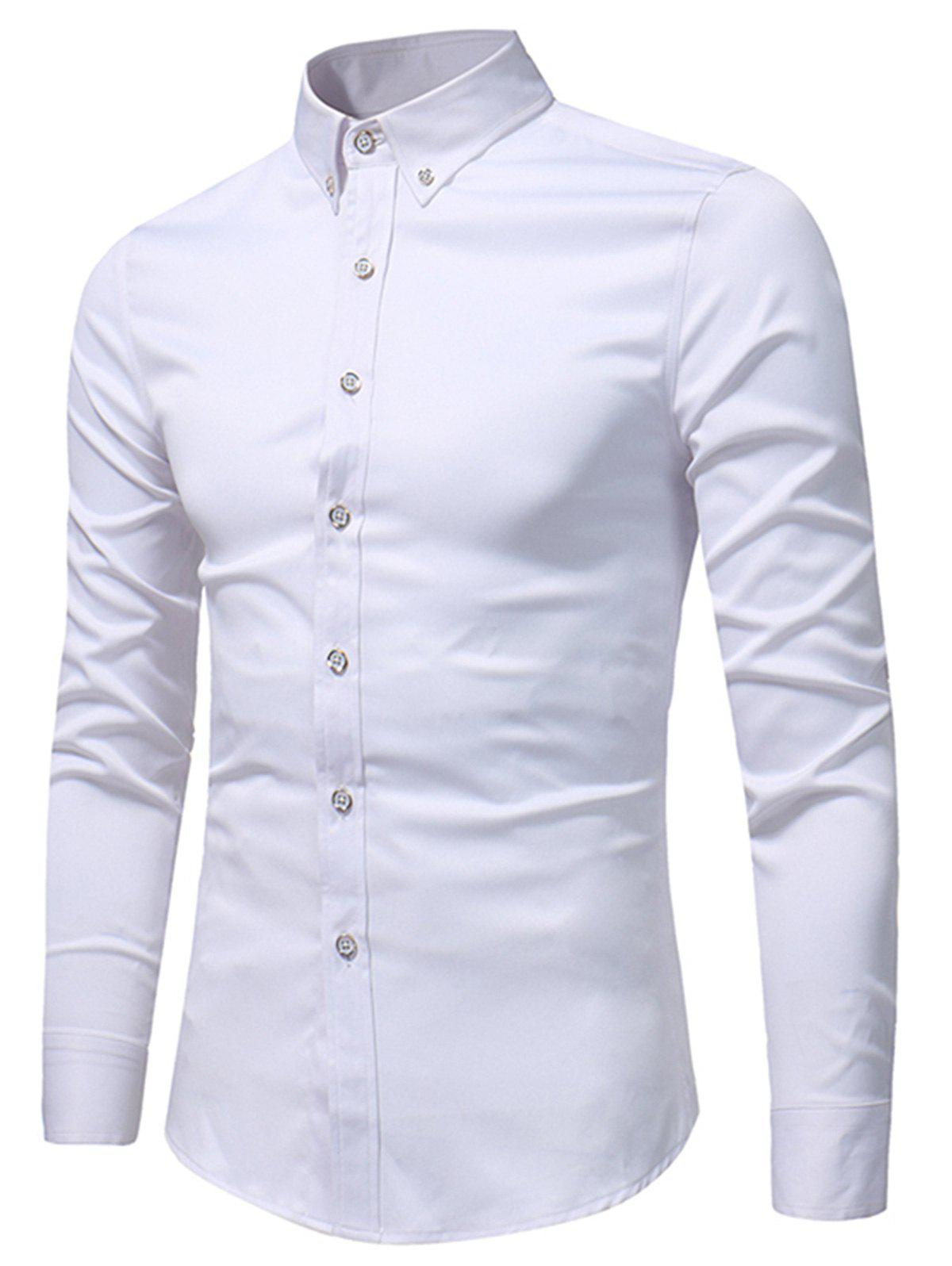 2018 slim fit button down long sleeve shirt white xl in for Slim fit white button down shirt