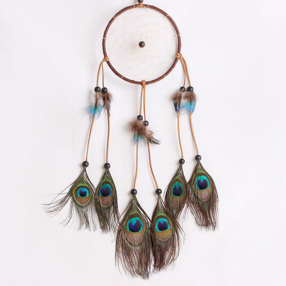 Handmade Dreamcatcher Peacock Feather Pendant For Decoration - BROWN