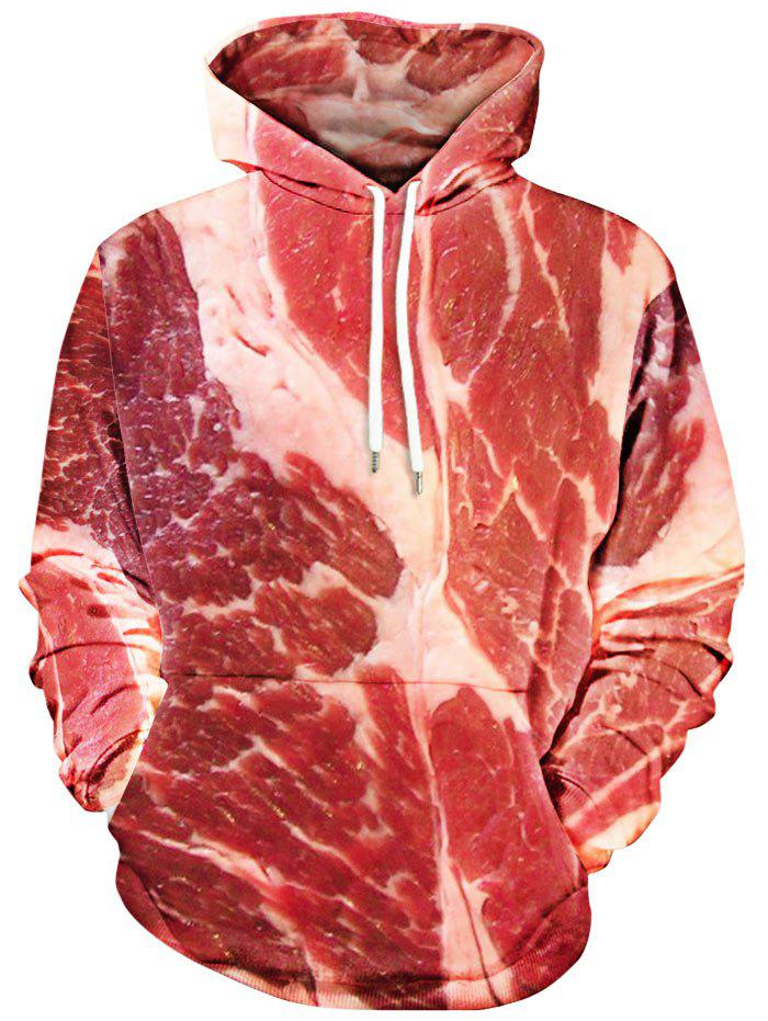 Raw Meat Print Kangaroo Pocket Hoodie - RED XL