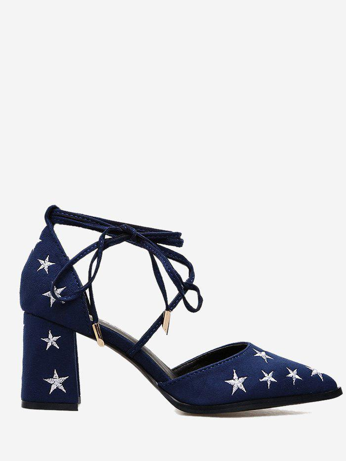 Ankle Strap Stars Embroidery Mid Heel Pumps - BLUE 37