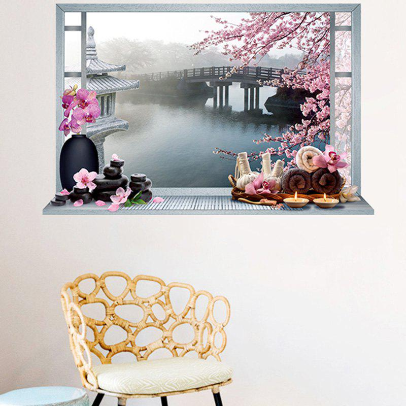 Flower Bridge River Pattern 3D Wall Art Sticker flower bridge river pattern 3d wall art sticker