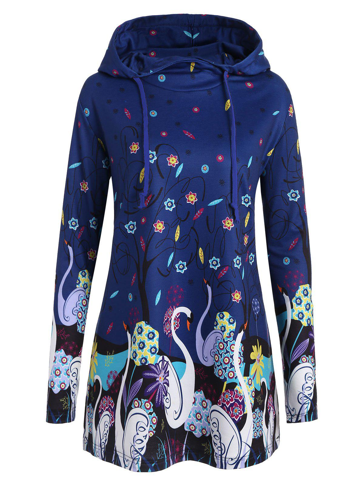 Long Plus Size Swan Print Hoodie - BLUE 5XL