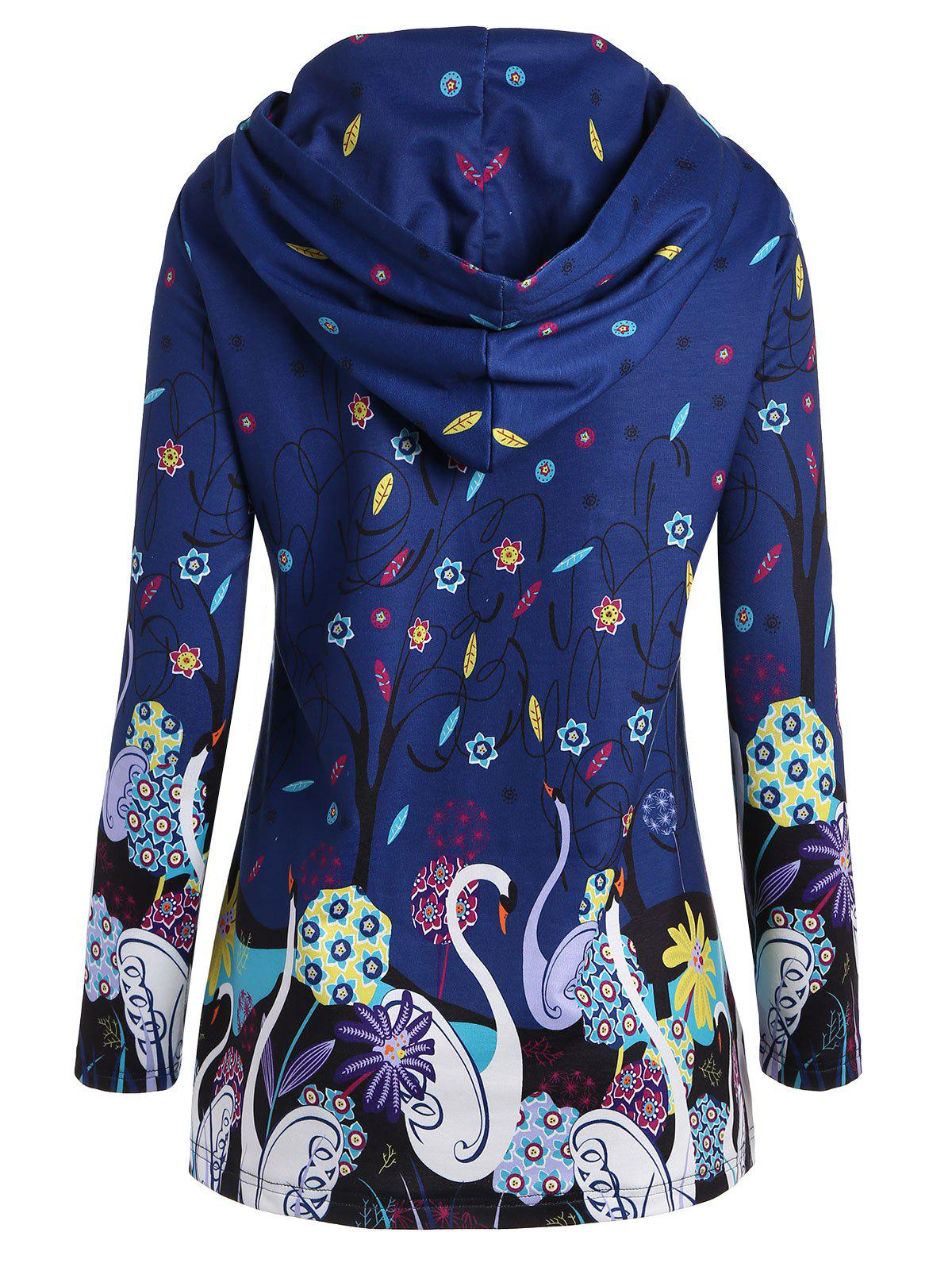 Long Plus Size Swan Print Hoodie - BLUE XL