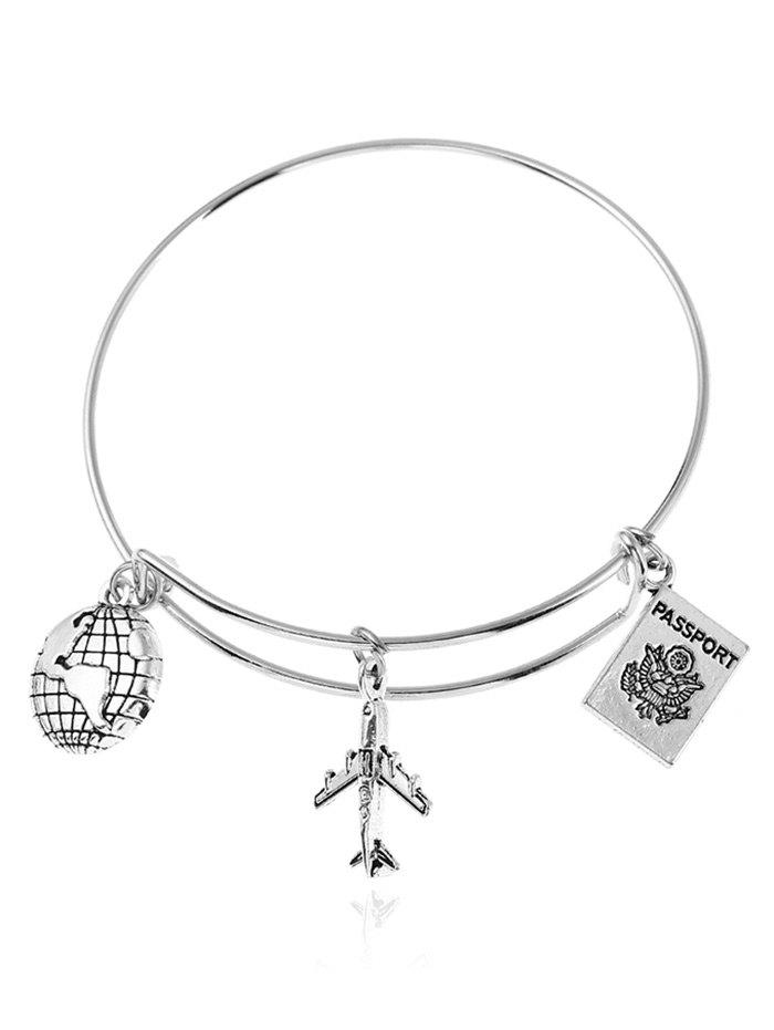 Globe Airplan Travel Design Charm Bracelet