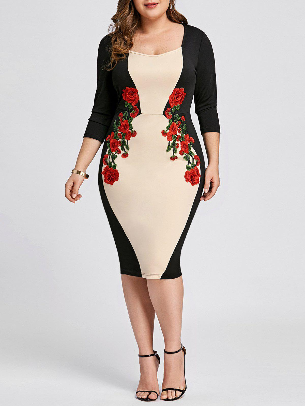 2018 Plus Size Embroidered Color Block Bodycon Dress Apricot Xl In