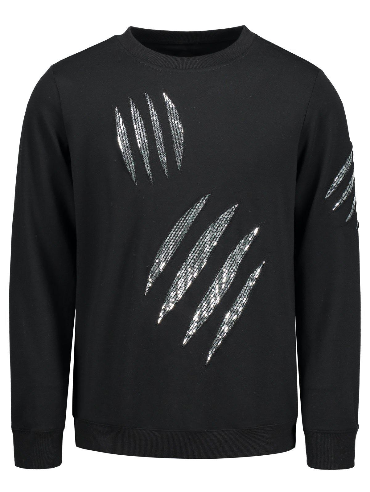 Sequins Insert Crew Neck Sweatshirt - BLACK M