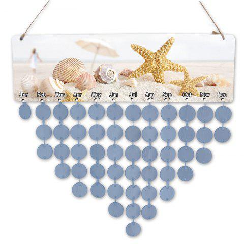 DIY Birthday Gift Beach Style Starfish and Shells Printed Wooden Calendar Board - LIGHT BLUE