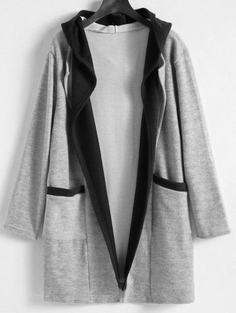 Faux Twinset Plus Size Long Hooded Coat - GRAY 2XL