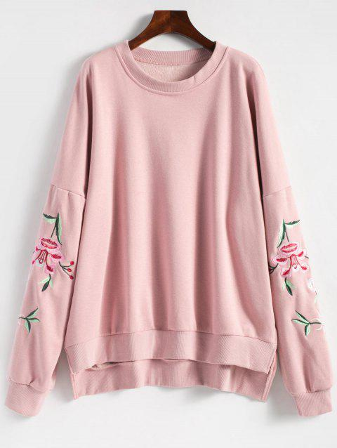 Floral Embroidered Plus Size Fleece Lined  Sweatshirt - PINK 2XL