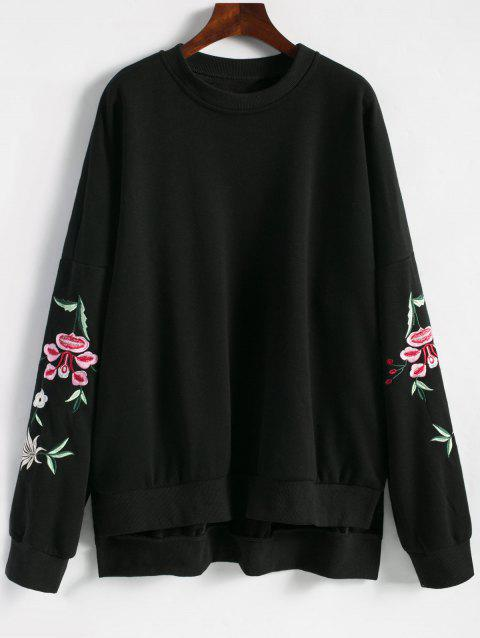 Floral Embroidered Plus Size Fleece Lined  Sweatshirt - BLACK XL