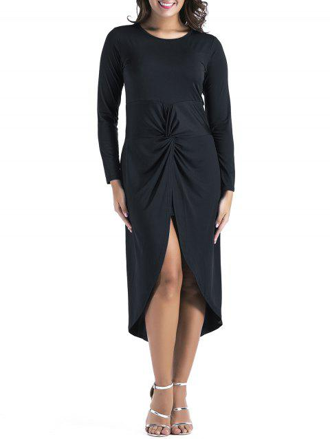 Slit Long Sleeve Twist Front Tulip Dress - BLACK XL