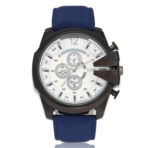 Big Dial Faux Leather Strap Watch - BLUE