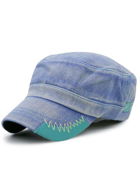 Outdoor Line Embroidery Denim Military Cap - LIGHT BLUE
