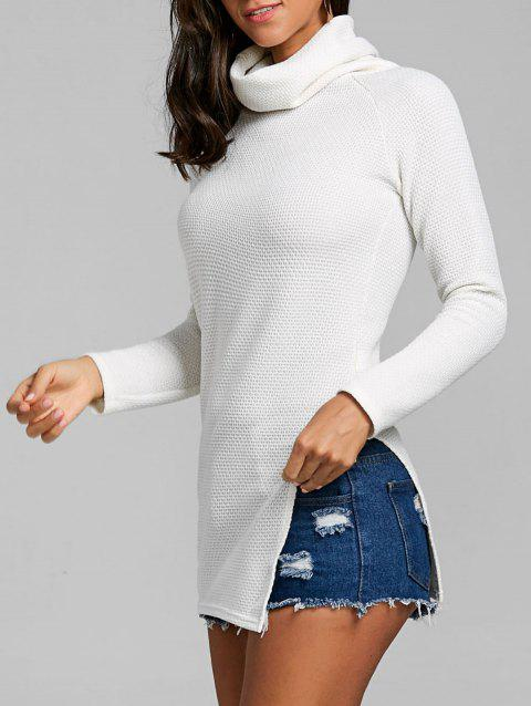 Cowl Neck Side Tunic Slit Sweater - OFF WHITE S